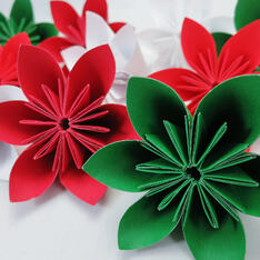 folded red and green flowers