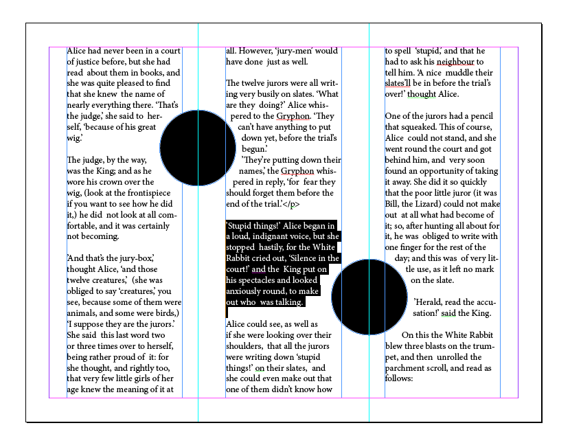 indesign, text threads