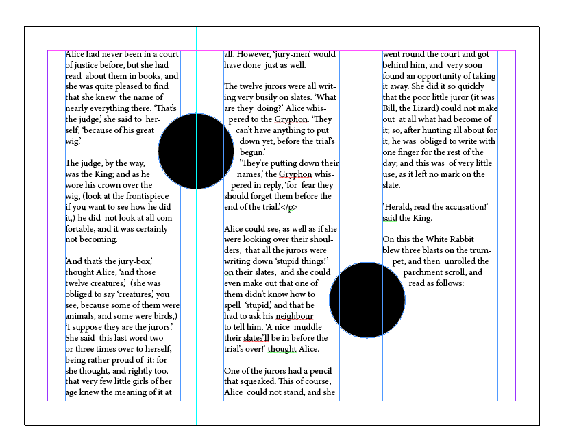 how to use indesign text threads