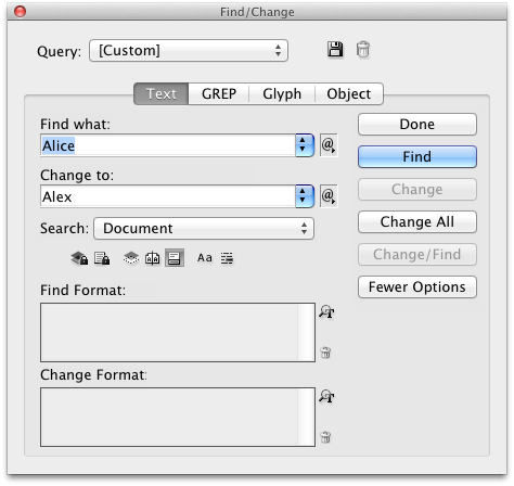 find and change InDesign