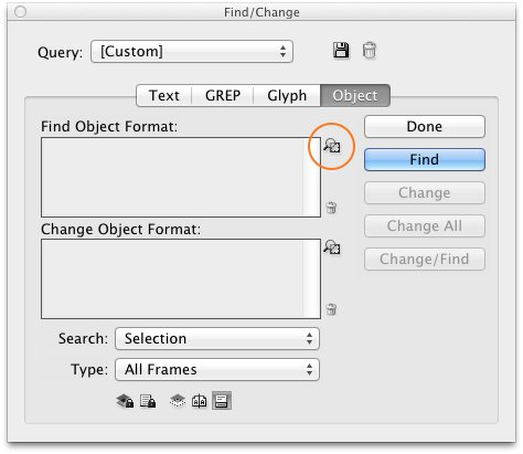how to use find/change in Indesign
