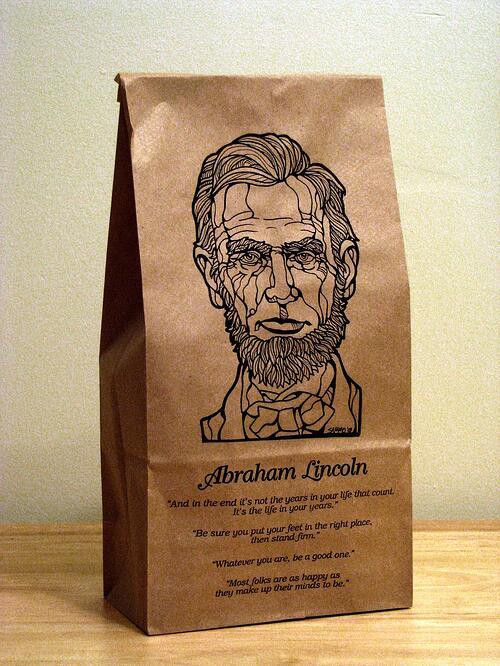 Abraham Lincoln, illustration, bag, design, quotes