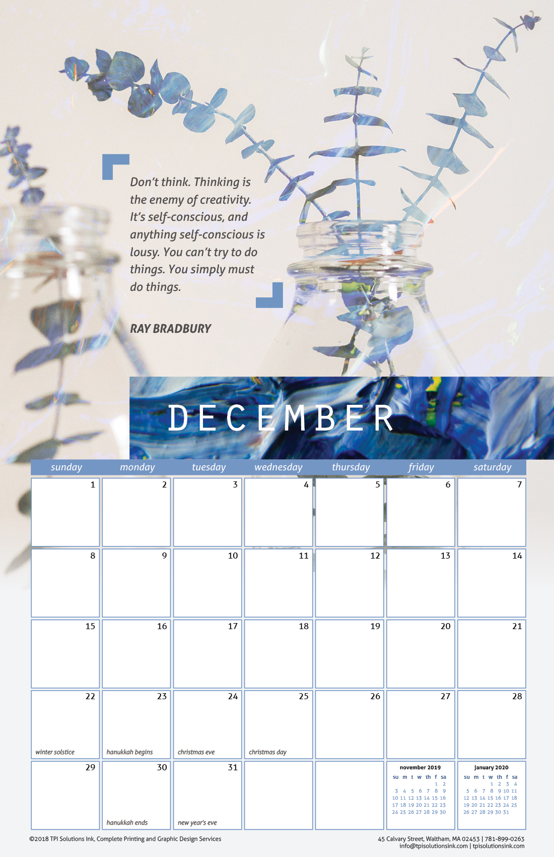 Free December 2019 Printable Wall Calendar with Quote from Ray Bradbury
