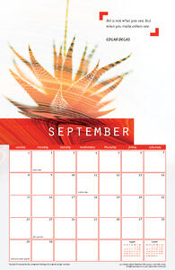 Free September 2019 Printable Wall Calendar with Quote from Edgar Degas