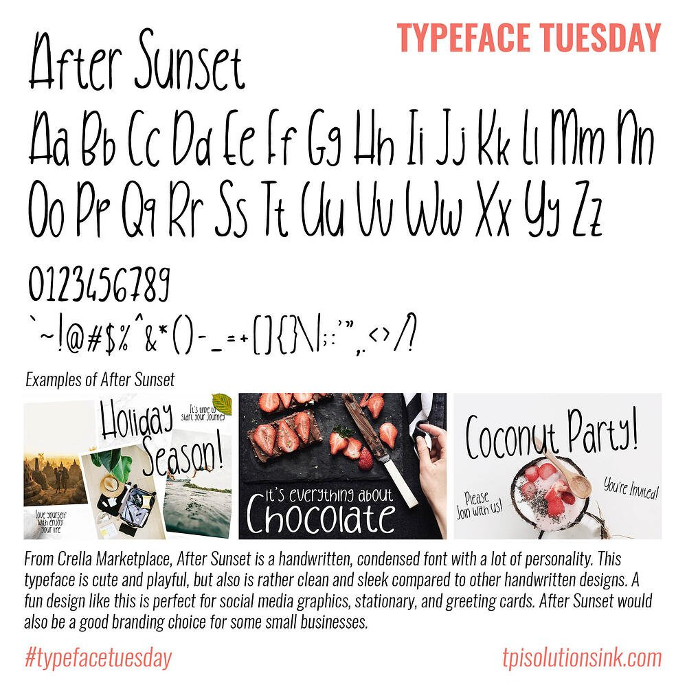 Typeface Tuesday – After Sunset