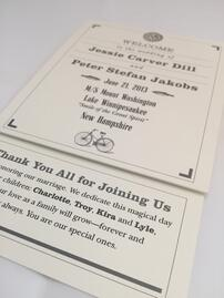 Custom printed wedding programs and menus at TPI Solutions Ink in Waltham, MA