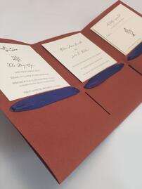 Custom Wedding Invitation in Tri-Fold Folder with Satin Ribbon