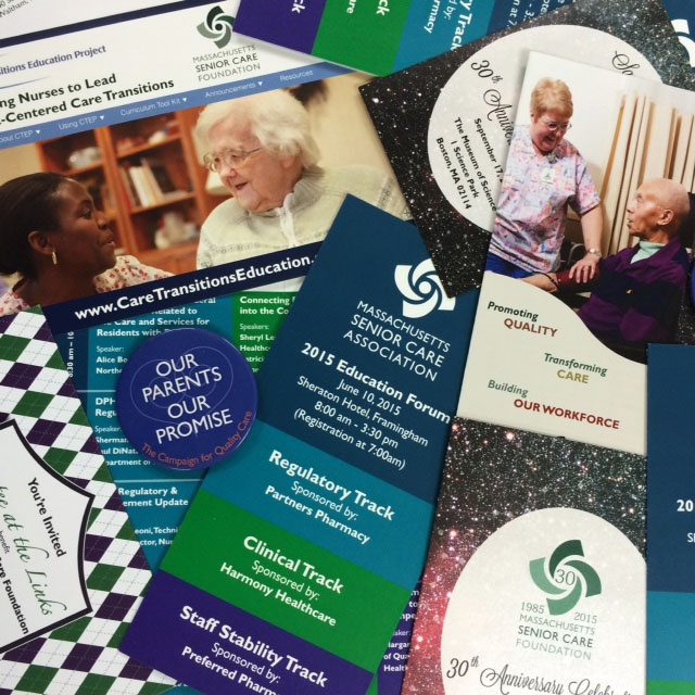 Printed brochures and folders for the Massachusetts Senior Care Association