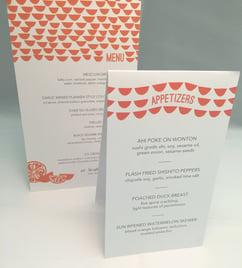 Custom designed wedding menu