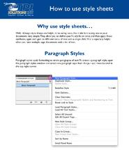 Guide on how to Use InDesign Style Sheets