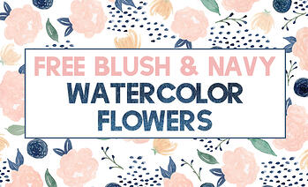 Free Blush & Navy Watercolor Flowers