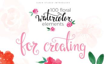 100 Floral Watercolor Elements