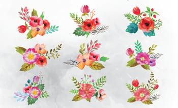 9 Free Watercolor Flower Vectors