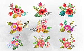 9 Free Watercolor Flower Vectors