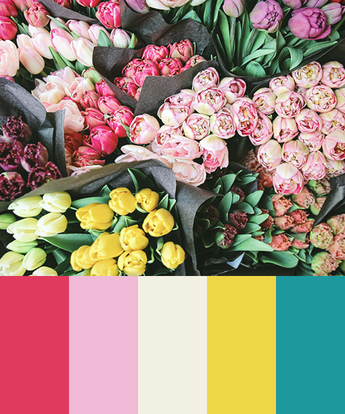 Color Palette of Bouquet of Pastel Flowers