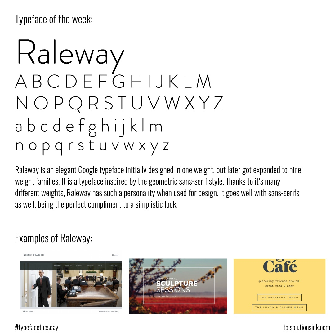 TPI Solutions Ink – Typeface Tuesday – Raleway