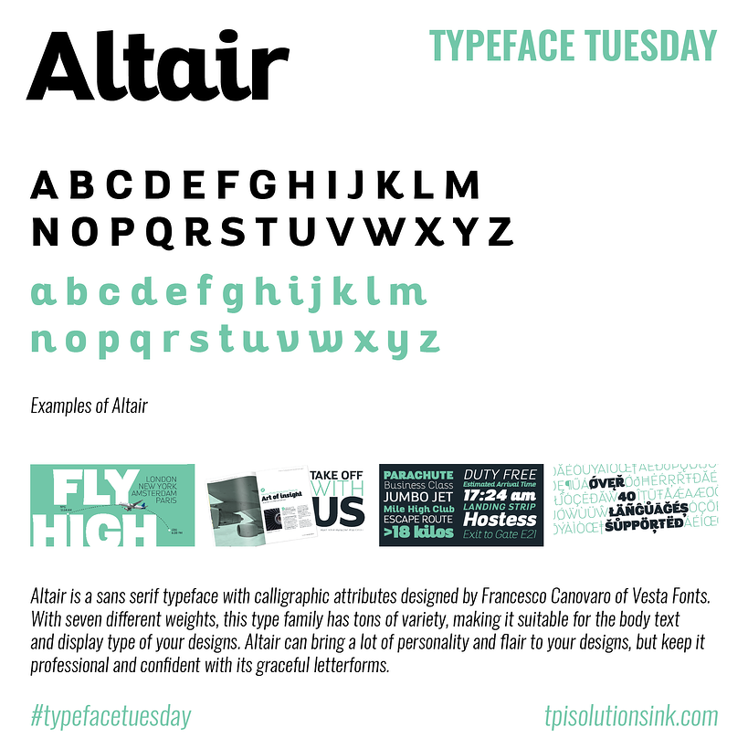 TPI Solutions Ink – Typeface Tuesday – Altair