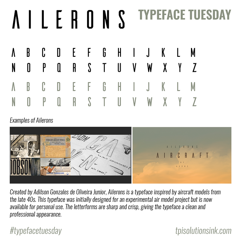 TPI Solutions Ink – Typeface Tuesday – Ailerons