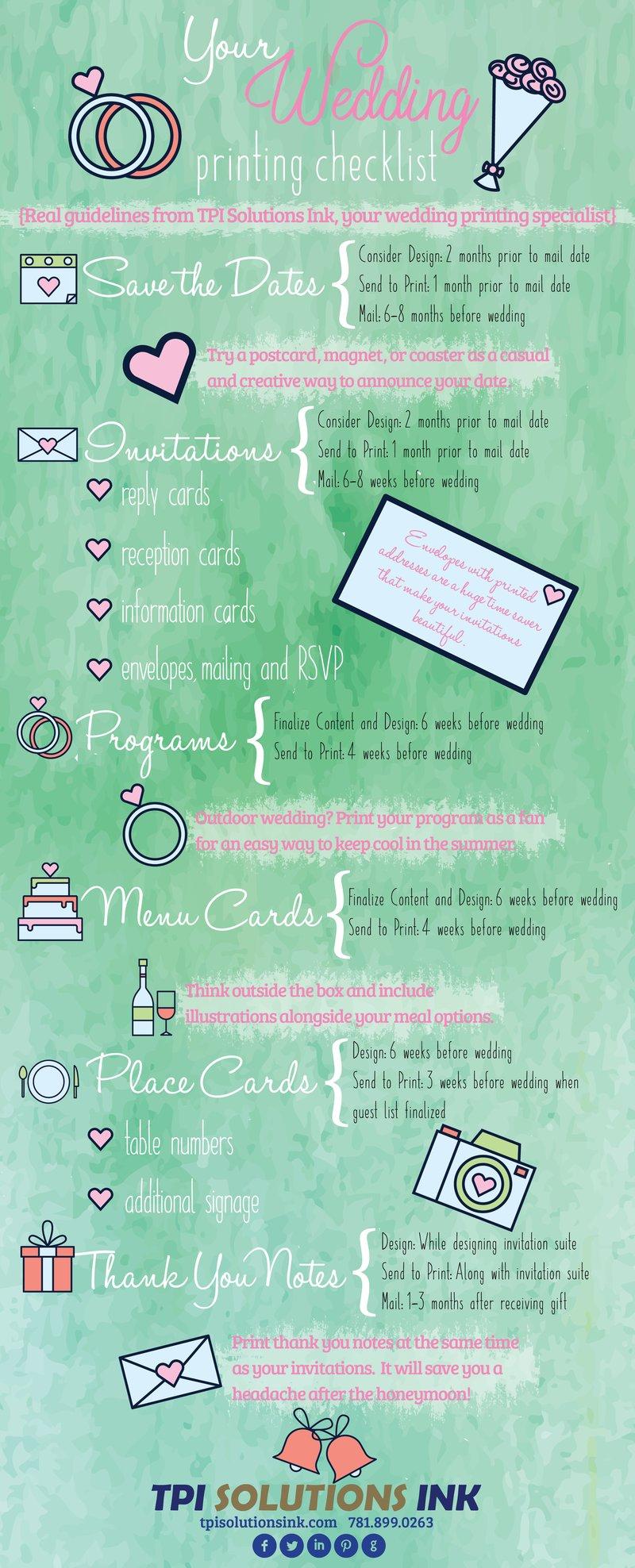 Wedding Printing Checklist TPI Solutions Ink Waltham, MA