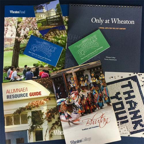 Selection of digitally printed, bound, and speciality items printed by TPI Solutions Ink for Wheaton College