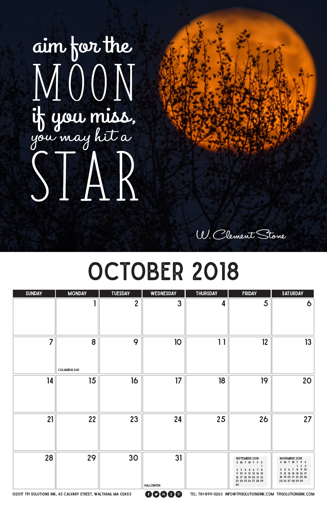 October 2018 Free Calendar Download - Printable