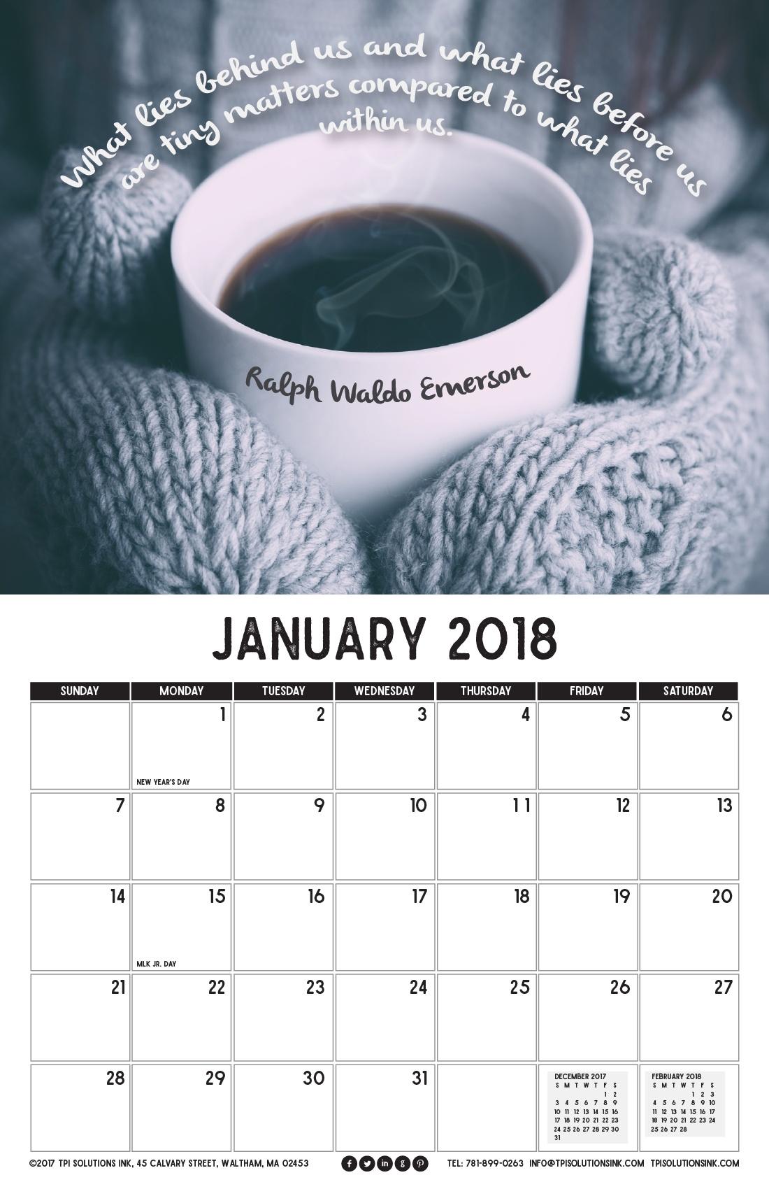 January 2018 Free Calendar Download - Printable