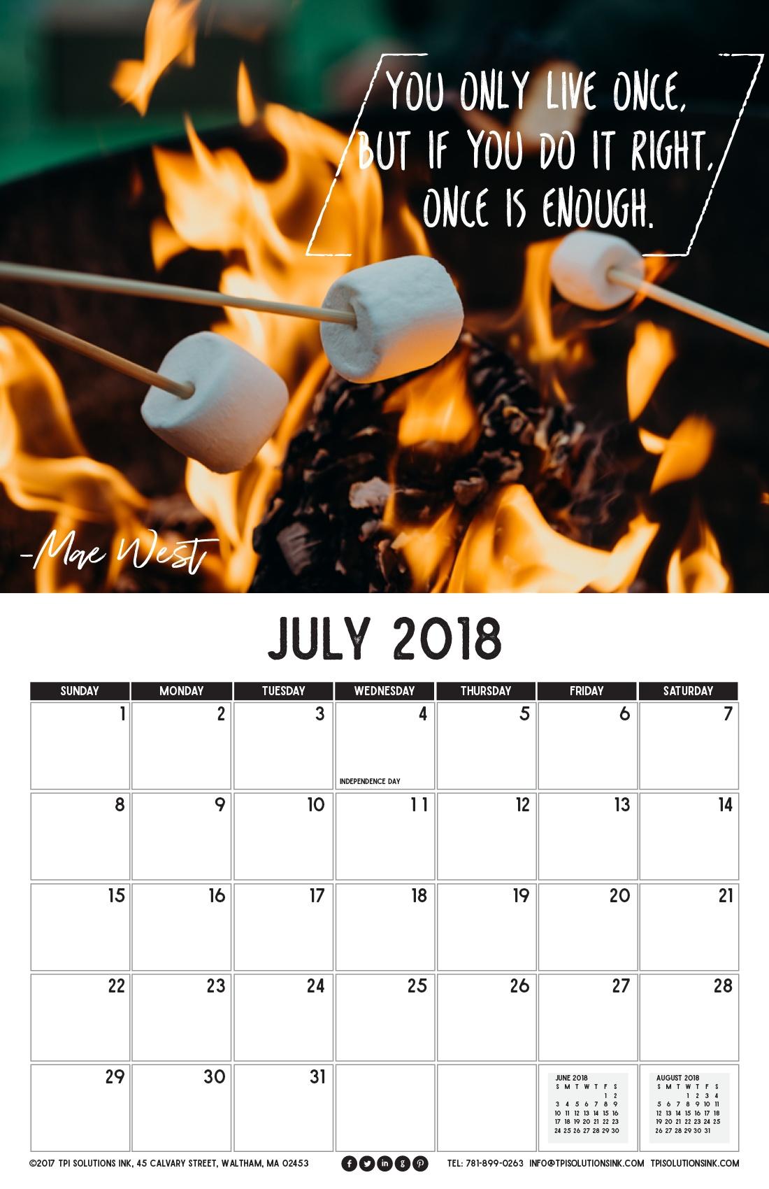 July 2018 Printable Wall Calendar