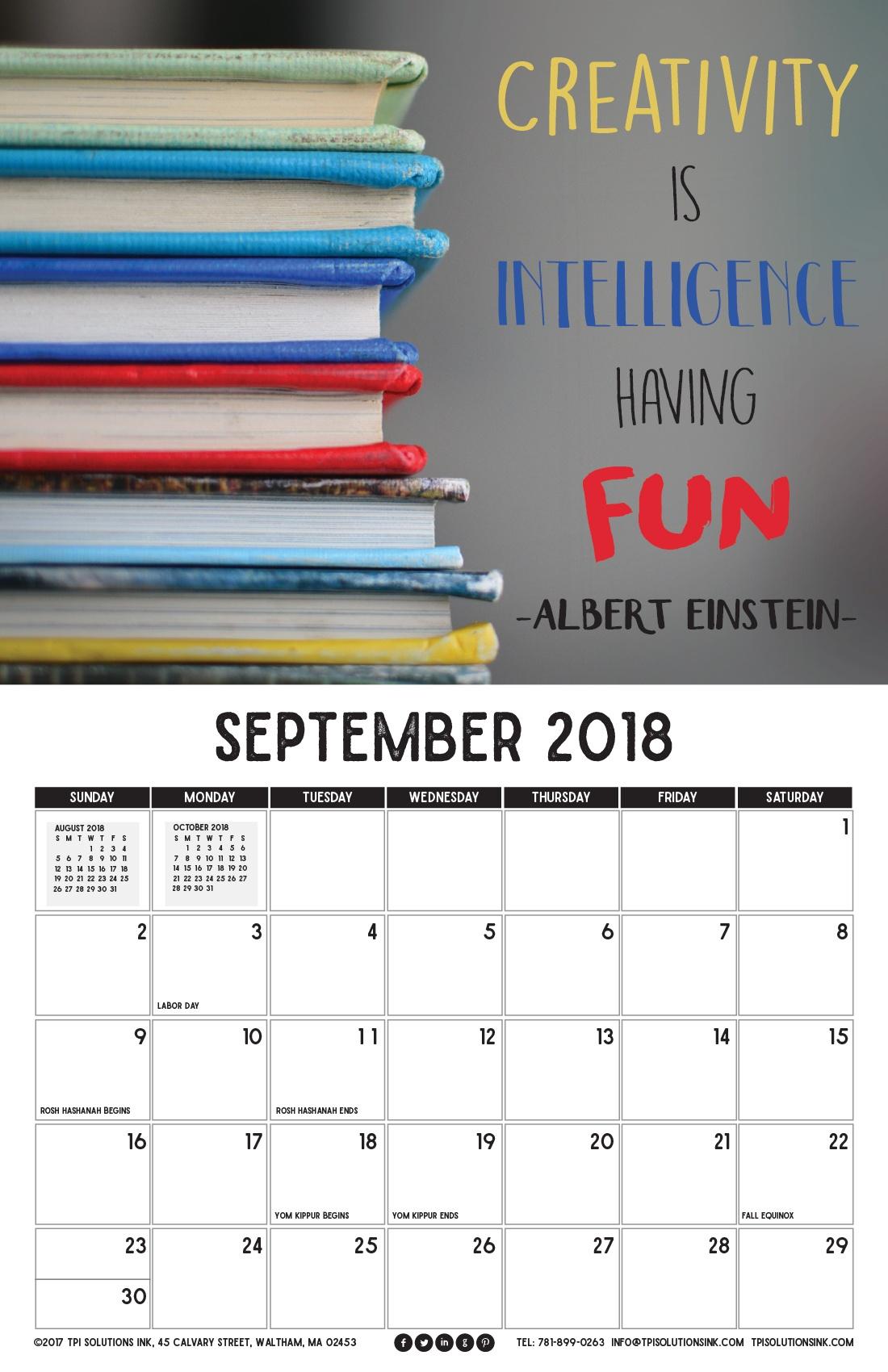 September 2018 Printable Wall Calendar
