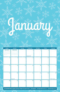 Free 2020 TPI January Calendar with Snowflake Pattern