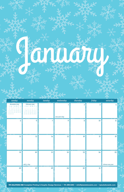 January 2020 Free Calendar Download - Printable