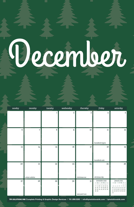 Free December Calendar with Festive Tree Pattern