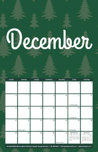 Free 2020 TPI December Calendar with Festive Tree Pattern