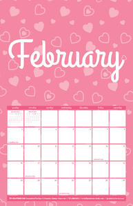 Free February Calendar with Heart Pattern