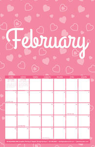 Free 2020 TPI February Calendar with Heart Pattern
