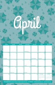 Free April Calendar with Rain Pattern