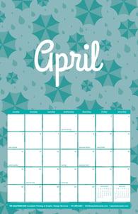 Free 2020 TPI April Calendar with Rain Pattern