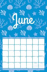 Free June Calendar with Seashell Pattern
