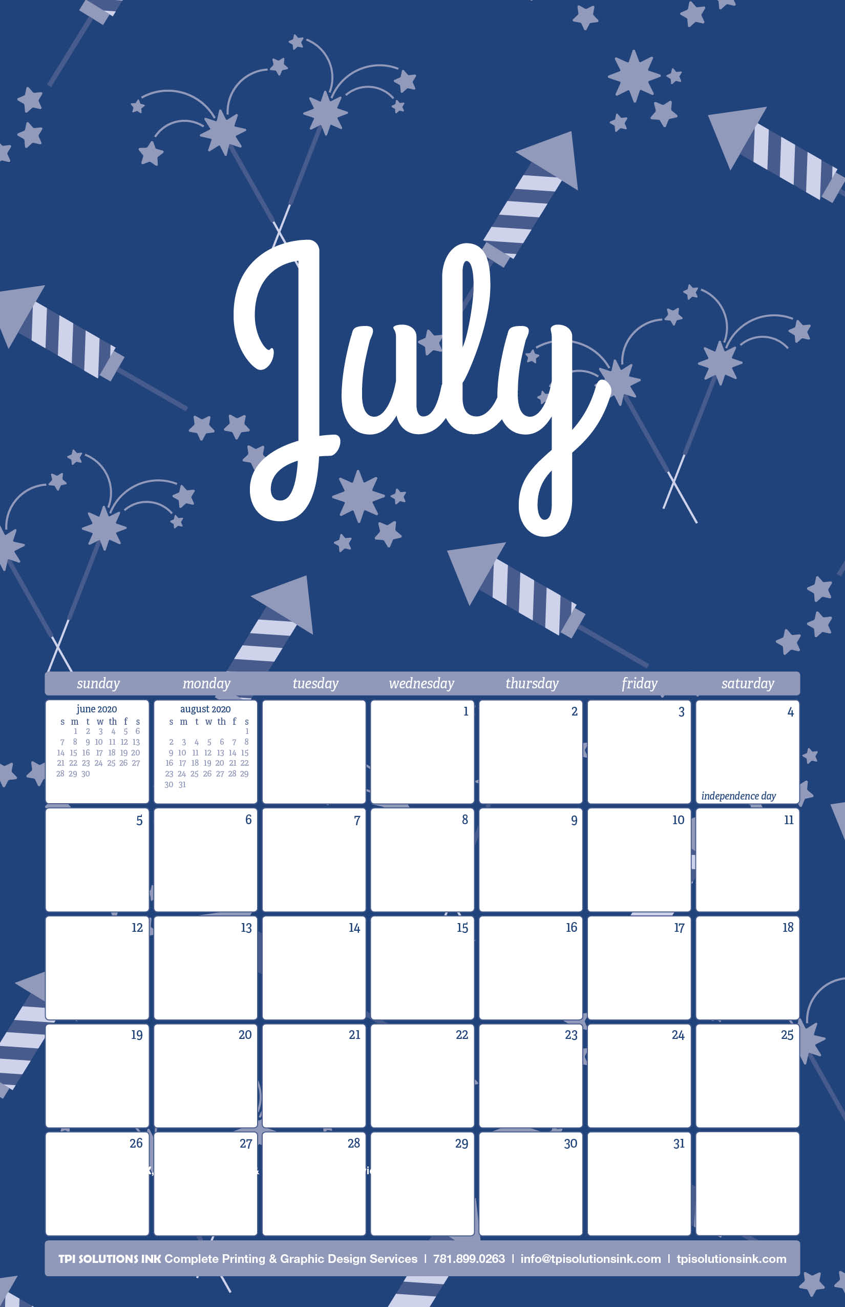 Free 2020 TPI July Calendar with Firework Pattern