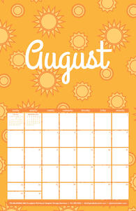 Free 2020 TPI August Calendar with Sun Pattern