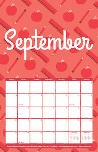 Free September Calendar with School Pattern