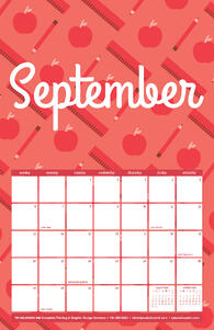 Free 2020 TPI September Calendar with School Pattern