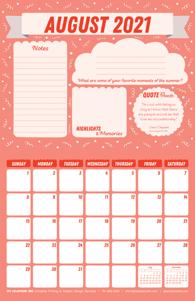 Free 2021 August Motivational Calendar