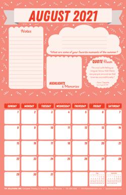 August 2021 Free Calendar Download - Printable
