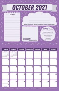 Free 2021 October Motivational Calendar