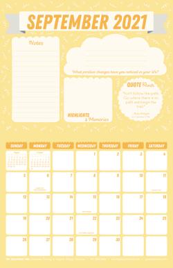 September 2021 Free Calendar Download - Printable