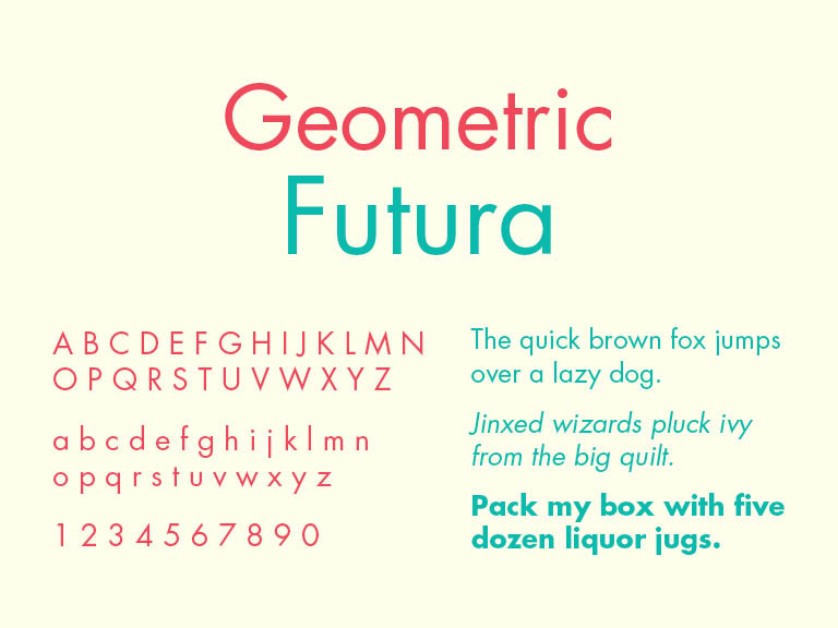 Geometric Sans Serif Typeface, Futura, TPI Solutions Ink