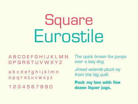 Square Sans Serif Typeface, Eurostile, TPI Solutions Ink