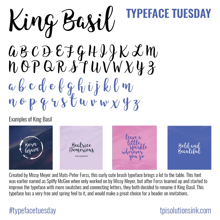 TPI Solutions Ink – Typeface Tuesday – King Basil